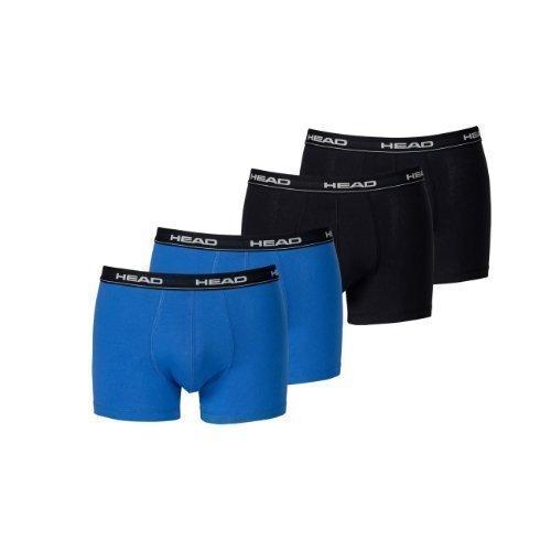 Head Herren Boxer Boxershort Unterhose 4er Pack (2x black 2x blue/black, L) (Sommer-boxer)