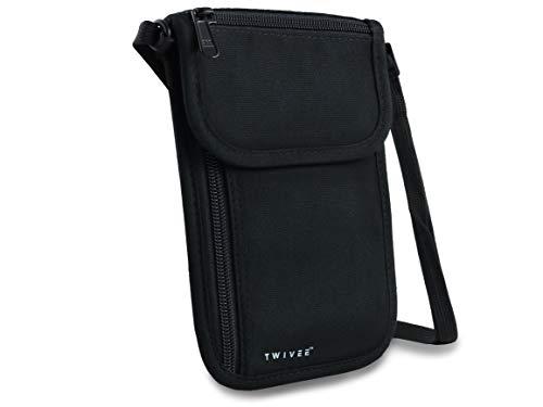 TWIVEE - Brustbeutel mit RFID-Schutz - Brusttasche Unisex - Reise Umhängebeutel - Reisegeldbeutel - Schwarz