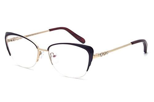 Women fashion Cat Eye Metal Half Frame Glasses Non-prescription eyewear Frames metal