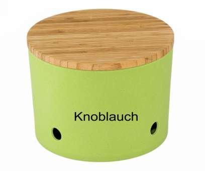 Magu Knoblauchtopf Natur-Design in grün, Bambusfasern, Getreidestärke, Holzfaser, 28 x 28 x 8 cm