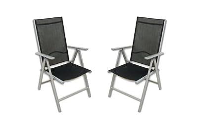 2er Set Klappstuhl Aluminium Komfortbreite Gartenstuhl Gartenstühle Klappstühle Alu schwarz