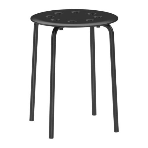 Ikea 101.356.59 Marius Hocker in schwarz stapelbar (45cm)