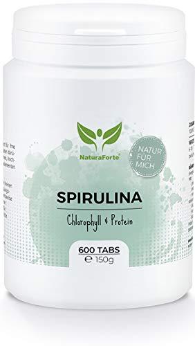 NaturaForte Spirulina Algen Tabletten (600 Stück = 150g) - Naturbelassen, Hochdosiert, Rein und ohne Zusätze - Vegan - Reich an Protein/Eiweiß - Frisches, Grünes Superfood - Low-Carb