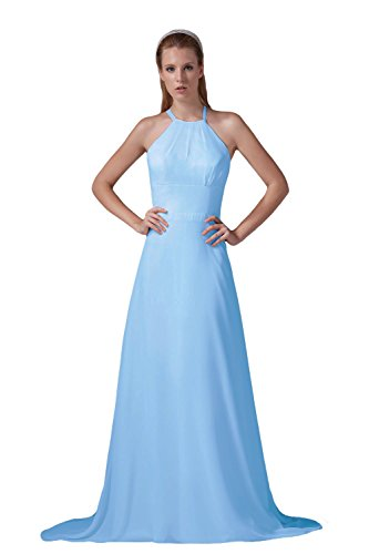 Bridal_Mall - Robe - Trapèze - Sans Manche - Femme Bleu - Bleu