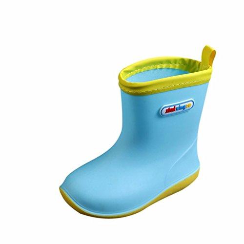 4 Kinder Stiefel Größe Regen (RegenSchuhe Stiefel Jamicy® Winter Herbst zufälliges Wasserdichtes Kind Fester Gummisinfant Baby Regen lädt Kinderregen Schuhe auf (Himmelblau, EU:24))