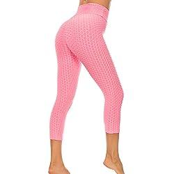 FITTOO Mallas 3/4 Leggings Mujer Pantalones de Yoga Alta Cintura Elásticos y Transpirables1060 Rosa M