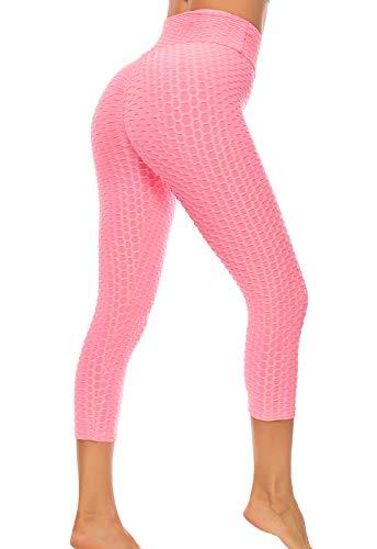 FITTOO Mallas 3/4 Leggings Mujer Pantalones de Yoga Alta Cintura Elásticos y Transpirables1060 Rosa S