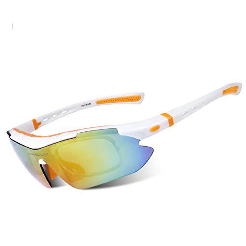 ZJXHAO Sport-Radlingen-Sonnenbrille UV-Schutz polarisierte Gläser Fishing Golf Baseball Men es Sports Goggles, 5 austauschbare Objektive für Männer Frauen Jugend,A1