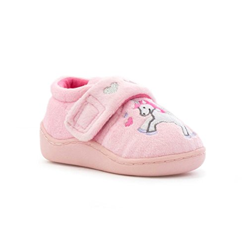 The Slipper Company - Girls Pink Embroidered Unicorn Slipper - Size 10 - Pink