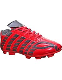 Aryans Mens PU soccer Red football shoes