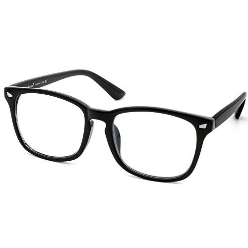 Cyxus Lesebrille zum Blockieren von UV-Kopfschmerz mit blauem Licht [Anti-Augenstress] Retro-Brille, Unisex (Damen/Herren) (Schwarz, 1.0)