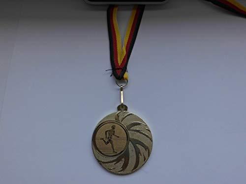 Fanshop Lünen 100 x Medaillen - aus Stahl 45mm - mit Einem Emblem, Volkslauf - Leichtathletik - Laufen - Lauf - inkl. Medaillen-Band - Farbe: Gold - mit Emblem 25mm - (e108) -