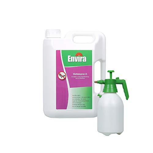 Envira Motten-Spray - Anti-Motten-Mittel Mit Langzeitwirkung - Geruchlos & Auf Wasserbasis - 2 Liter + 2L Drucksprüher