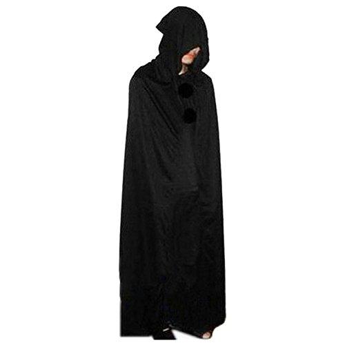 SpringPear® Schwarz Teufel Umhang mit Kapuze Cape Lang Kostüm Mantel Verkleidung für Halloween Theater Karneval Fasching