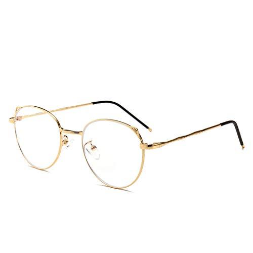 Mkulxina Mode Katze Ohren Metall ovalen Rahmen Anti-Blaue Brille für Männer Frauen gefälschte Gläser für Frauen (Color : Gold)