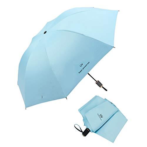 Tinyuet Paraguas Plegable de Viaje, Portátil 38 Inch 8 Costillas Paraguas, Negro Tela de Goma Anti-UV UPF50 para Actividades al Aire Libre - Azul Cielo