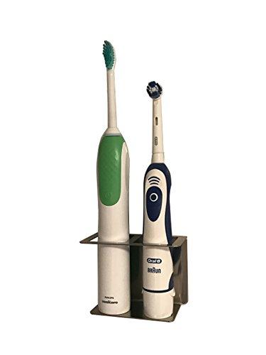 Zahnbürstenhalter aus Edelstahl für elektrische Zahnbürsten 2 Plätze (Platz Zahnbürste)