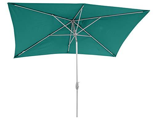 Sorara ombrellone da giardino ombrellone da sole |verde |200 x 300 cm / 2 x3m |porto rettangolare |poliestere 180 g/m² (uv 50+) |manovella, meccanismo di inclinazione (esclusa base)