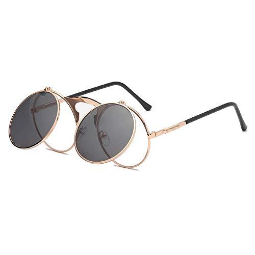 YUHANGH Männer Frauen Sonnenbrillen Großen Rahmen Vintage Steampunk Runde Übergroßen Retro Brille Metallrahmen Klassiker