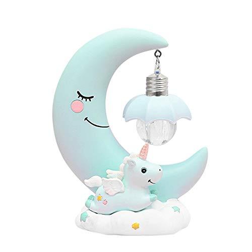Comtervi - Luz Nocturna LED, diseño de Unicornio, Luna, luz Nocturna, Resina, Dibujos Animados, lámpara 3D, Dormitorio, respiración para niños y niñas