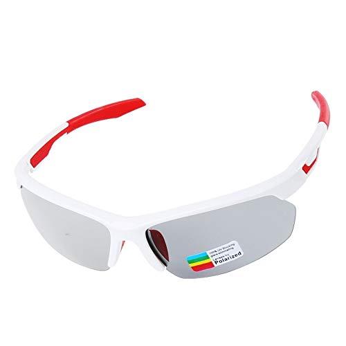 Photochrome Fahrrad-Sonnenbrille, Rennrad-Brille 3 in 1 Linse Allwetter-Brille Mountain Skid Brille Herren, Damen, Weiß und Rot