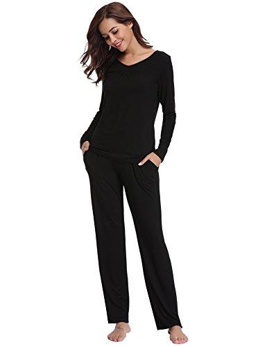 Aibrou Damen Einfarbige Pyjama Set, Zweiteiliger Modal Langarm Schlafanzug Schwarz S