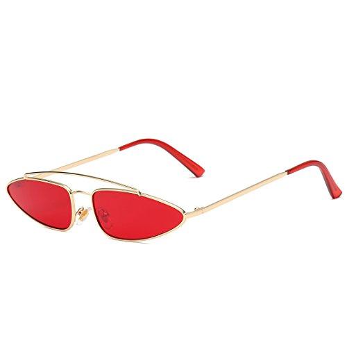 Yiph-Sunglass Sonnenbrillen Mode Männer und Frauen Sonnenbrillen Metallrahmen Flache verspiegelte Linse für (Farbe : Gold Frame/Red Lens)