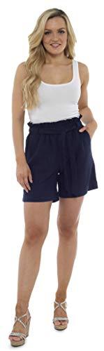 CityComfort Damen Leinenshorts   Frauen Casual Leinen Shorts für Sommer, Urlaub, Strand   Trendy Papiertüte Taille (44, Marine)