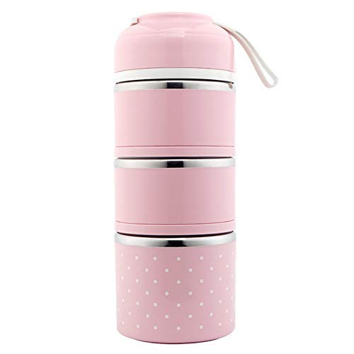 MongGood Edelstahl Lunchbox Mehrlagige Tragbar Isoliert Auslaufsicher Frühstück Kasten für Picknick - Farbe :p Tinte, 29.5cmx11.5cm - 29 Farbe Tinte