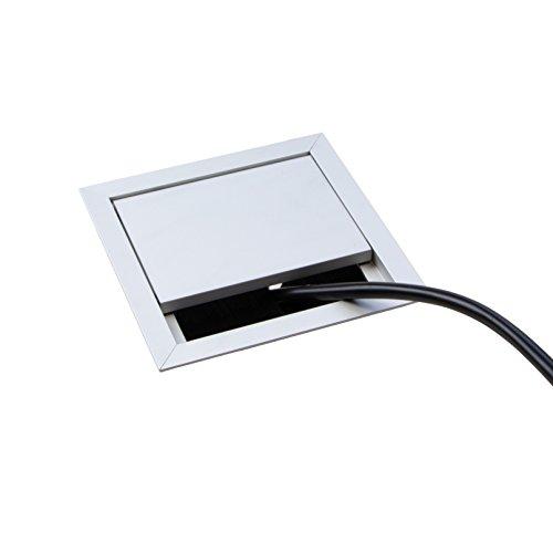 Gedotec Kabeldurchlass Schreibtisch Kabelführung eckig mit Bürstendichtung - ECO | Kabeldose 100 x...