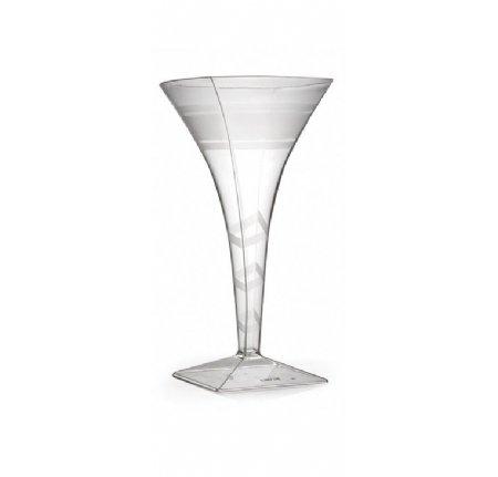 Elegante Hartplastik geschwungene Martini Cocktail Gläser–Klar mit Design–8oz (220)–10Stück