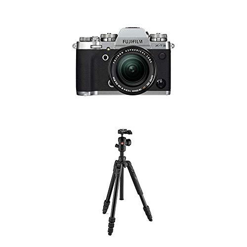 Fujifilm X-T3 Systemkamera in silber mit Manfrotto Befree Neressimo Reisestativ