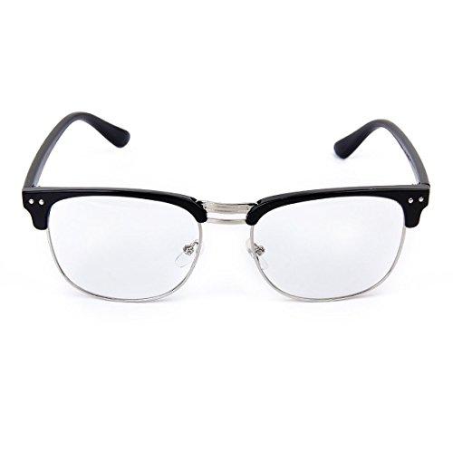 Tinksky Occhiali da vista Frame Unisex Retro pianura occhiali occhiali da vista Frame (nero + argento)