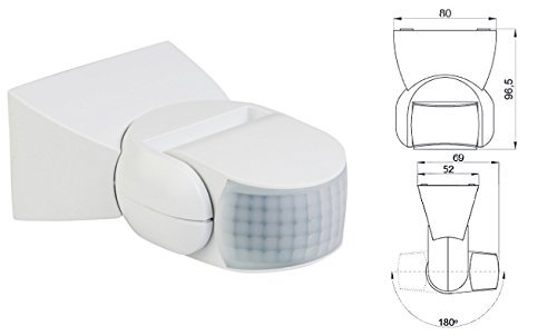 Bewegungsmelder IP65 für Wand- und Deckenmontage 180° Weiss CR-9