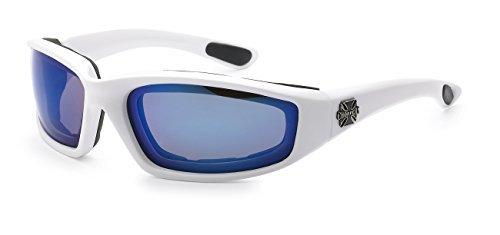 Moda Choppers Gangster Biker Schaumstoff gepolstert Matte Motorrad-Schutzbrille-Sonnenbrille 1 55 Mittel Mirrored Weiß Blau