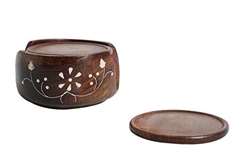 Untersetzer aus Holz, rund, 6 Stück, mit handgraviertem Halter - für Tee- und Kaffeetassen, Becher, Getränke, Glas-Untersetzer -