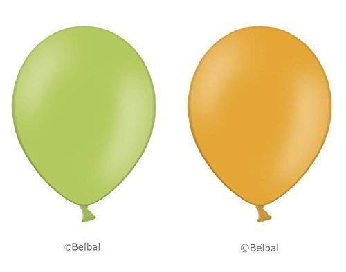 50 x limettengrün & 50 x orange Belbal Luftballons - 12