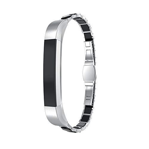 SUNEVEN Edelstahl-Armband für Fitbit Alta/Alta HR, luxuriöses Ersatz-Armband für Fitbit Alta/HR Fitness-Armband, Silber