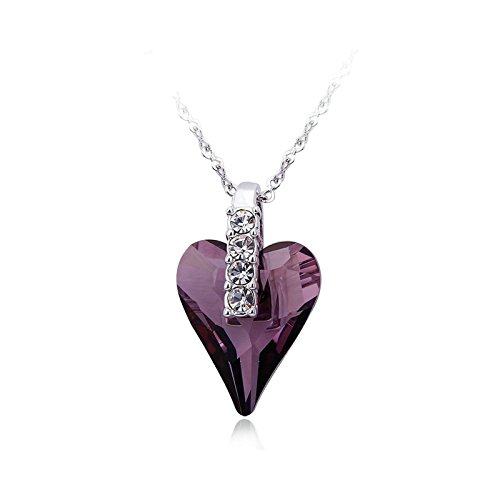 Anyeda Halskette Damen,Edelstahl Hypoallergen Kristall Herzformd Lila Rolo Schmuck Geschenk Größe 2.3X1.5Cm