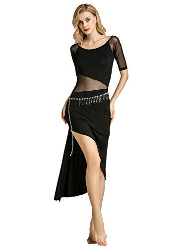 Zengbang Elegant Unregelmäßig Frauen Kurze Ärmel Split Kleider + Taille Kette Bauchtanz Kostüm Set 2Pcs (Schwarz(2PCS), Asien XL) (Bauchtanz Renaissance Kostüm)