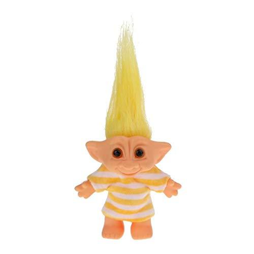 Jjek Miniatur Magie Elf Kunststoff Troll Puppe Indien hässliches Kind Retro Spielzeug gelb weiß gestreiften Kleid