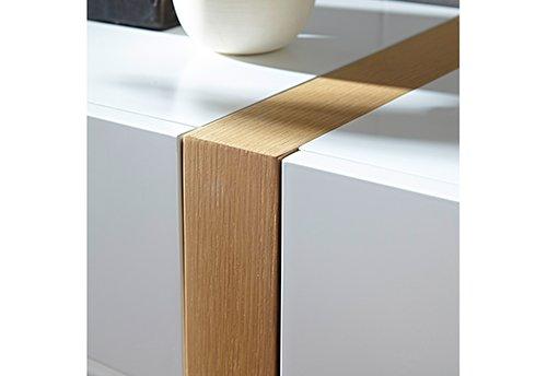 Sideboard in matt-weiß mit vertikalen Absetzungen in Eiche-NB, 2 Schubkästen, 3 Türen und 4 Einlegeböden, Maße: B/H/T ca. 145/87/40 cm - 2