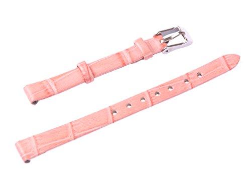 uyoung 10mm Mujer Rosa Piel Cocodrilo Grano Fino Reloj Banda