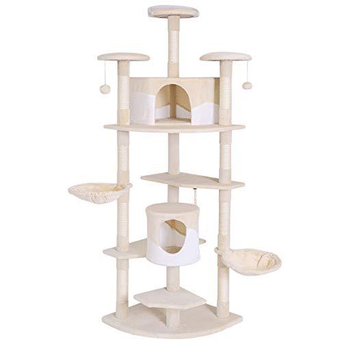 dibea KB00704, XXL Kratzbaum, Höhe 200 cm (als Eck-Kratzbaum geeignet), Kletterbaum für Katzen, beige / weiß
