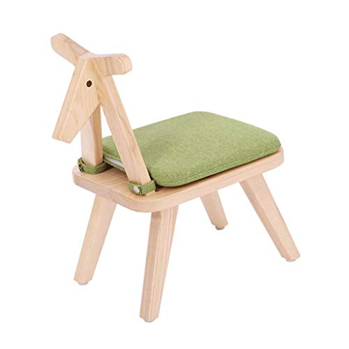 JFFFFWI Massivholz Kinder Cartoon Baby Esszimmerstuhl Wohnzimmer Schlafzimmer Rückenlehne Sitzkissen Abnehmbare Freie Installation Lernen Holzpferd (Farbe: GRÜN) - Esche Gepolstert Stuhl