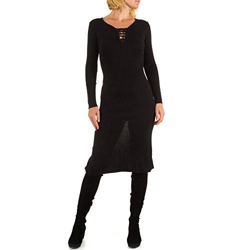 Geripptes Stretch Kleid Für Damen bei Ital-Design Schwarz