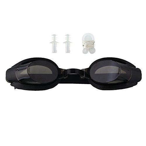 Forfar Beautyrain Tragbarer Schwarzer Schutz Nasenklammer + Ohrstecker Anti Nebel UV Schwimm Schwimmbrille Tauchbrillen Einstellbare Brillen