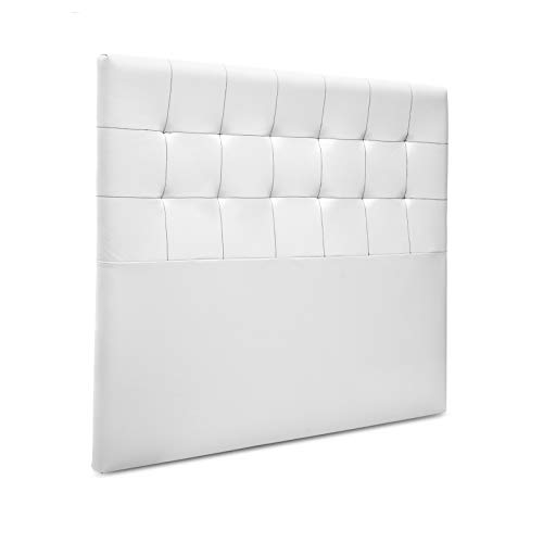 Suenoszzz - Cabecero Canada (Cama135) 145X120 cms. Color Blanco - Costura Negro