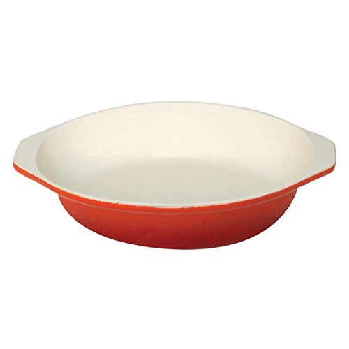 Vogue Round Orange Cast Iron Gratin Dish 400ml Baking Roasting Oven