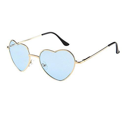 Battnot☀ Sonnenbrille für Damen Herren, Unisex Herzform Metallrahmen Vintage Mode Anti-UV Gläser Schutzbrillen Männer Frauen Retro Billig Sonnenbrillen Sunglasses Women Eyewear Ladies Eyeglasses